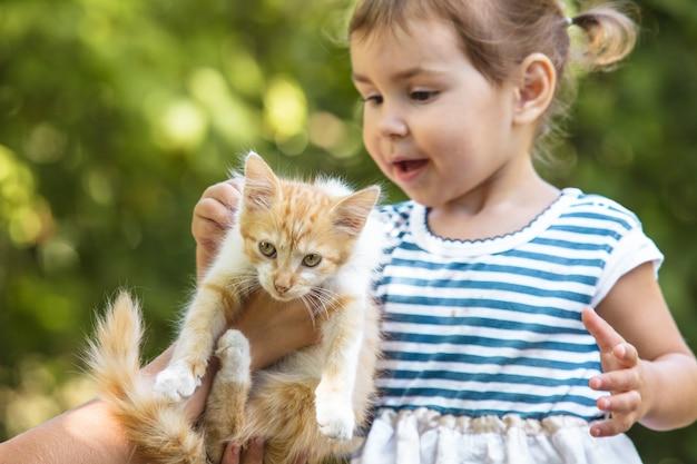 Le ragazze giocano con il gattino all'aperto nel parco Foto Premium