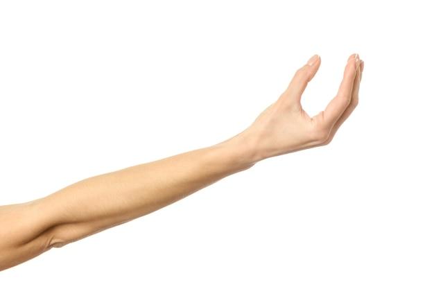 Dare, raggiungere o tenersi per mano. mano della donna con il manicure francese che gesturing isolato su priorità bassa bianca. parte della serie