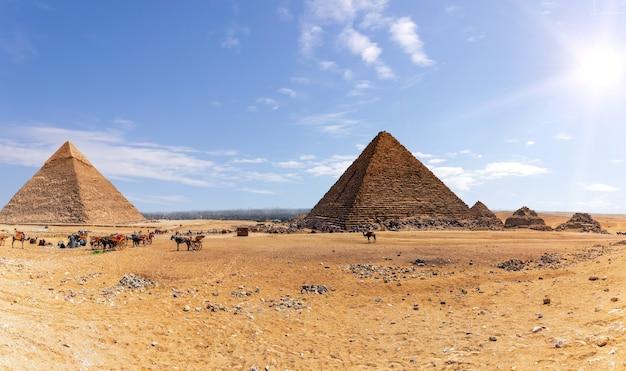 Piramidi di giza e l'accampamento di beduini e cammelli, egitto.