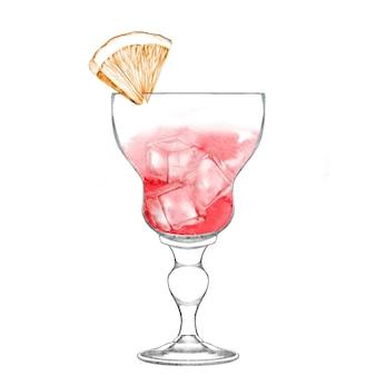 Bicchiere di cocktail alcolico con fetta d'arancia