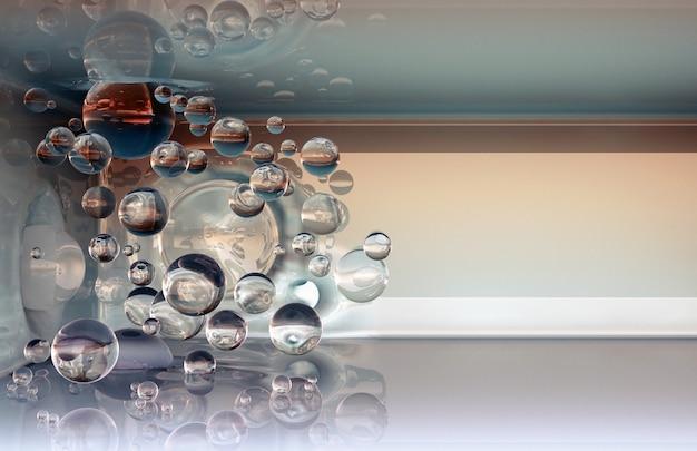 Le sfere di vetro volano in aria e si schiantano contro pareti e soffitti. rendering di sfondo 3d