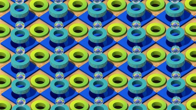 Sfere di vetro, anelli verdi, cubi blu e di legno. illustrazione astratta, rendering 3d.