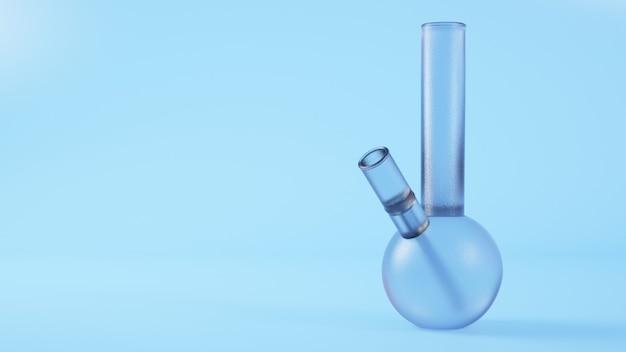 Bong di vetro su sfondo blu rendering 3d