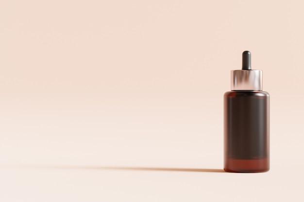 Bottiglia di vetro per cosmetici sulla superficie beige
