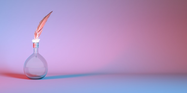 Lampadina di vetro con piuma nella luce al neon si chiuda