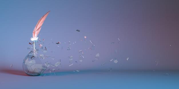 Lampadina di vetro con una piuma di luce al neon che si frantuma in piccole parti