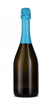 Bottiglia di champagne di vetro isolata su fondo bianco