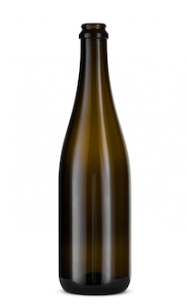 Bottiglia di vetro del champagne isolata su bianco