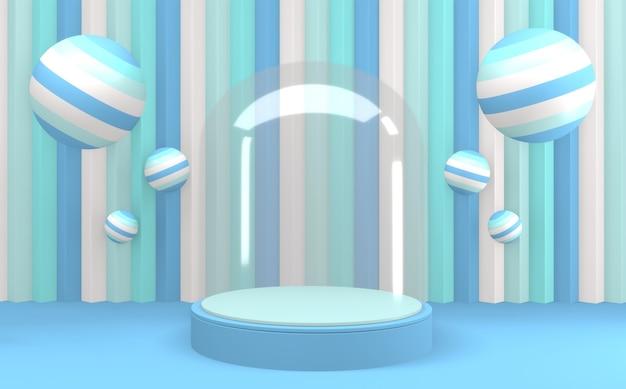 Cerchio di vetro su sfondo blu e podio blu ciano design minimale rendering 3d