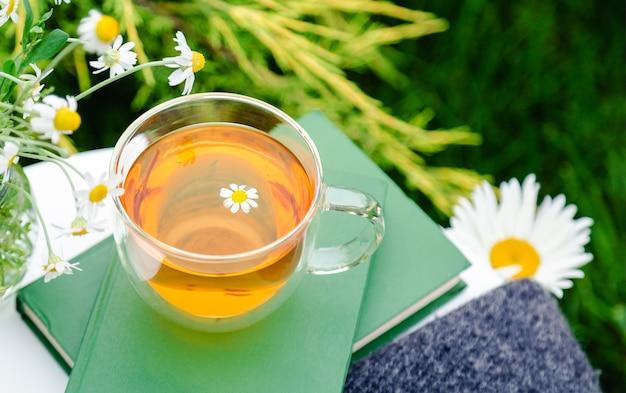 Tazza di vetro di tisana con fiori di camomilla sui libri bouquet di margherite all'aperto romantico tempo libero