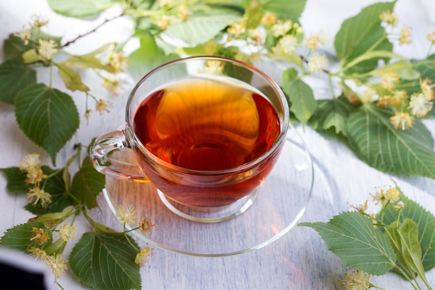 Tazza di vetro di tè di tiglio e fiori di tiglio su un tavolo di legno bianco. bevanda calda sanitaria.