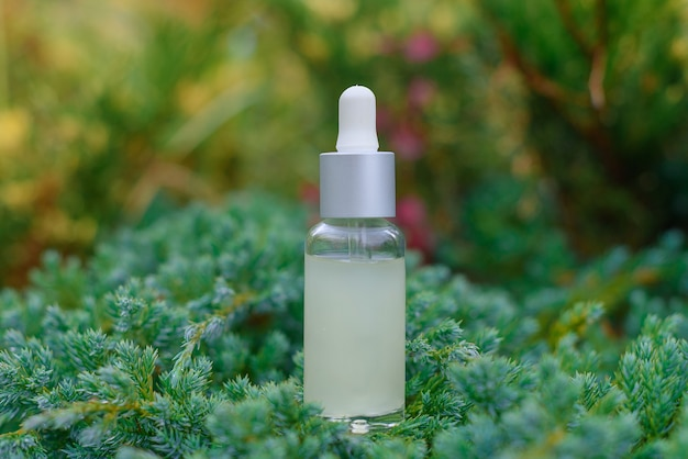 Flacone contagocce in vetro per olio cosmetico o siero sull'erba