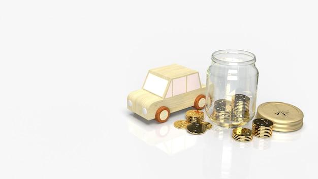 Barattoli di vetro con monete e legno per auto per salvare il rendering 3d dei contenuti.