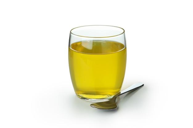 Bicchiere di gelatina di limone isolato su sfondo bianco