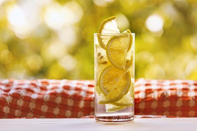 Bicchiere di acqua e limone sul giardino soleggiato