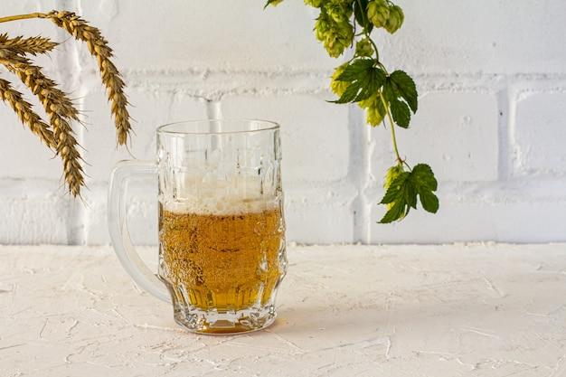 Boccale di birra in vetro con spighe d'orzo e un ramo di luppolo su fondo bianco.