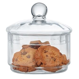 Barattolo di vetro per biscotti isolato su bianco