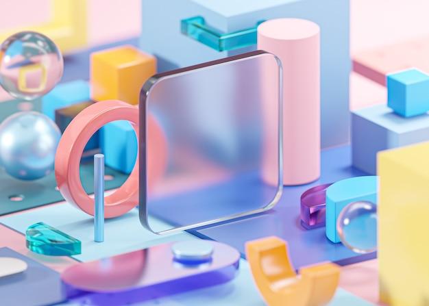 Modello di vetro mockup forme geometriche composizione astratta arte rosa 3d rendering