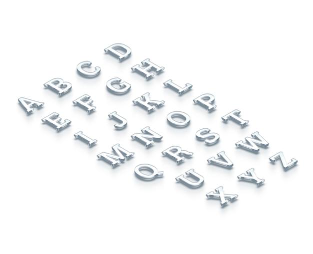Alfabeto trasparente di vetro, vista isometrica, rendering 3d.