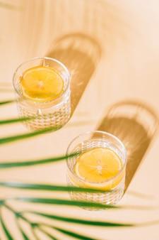Bicchiere d'acqua con limone su sfondo pastello con foglie di palma tropicale