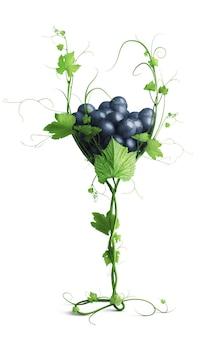Bicchiere con uva ricavata dalla vite isolata su sfondo bianco