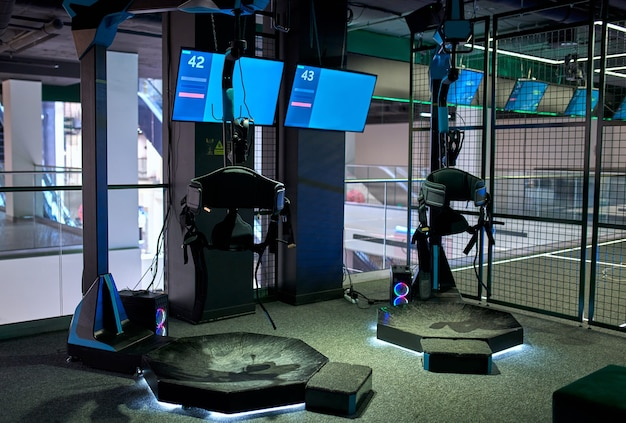 Occhiali di realtà virtuale. spazio vr, giochi, intrattenimento, concetto di tecnologia futura.