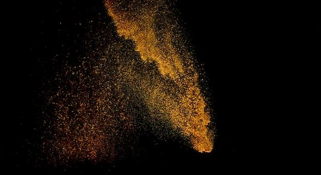 Sfondo di luci vintage glitter. oro e nero. de focalizzato