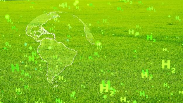 Digitale globale e continente americano con bolle di particelle di testo h2 verdi che volano su sfondo di erba verde, concetto di energia pulita di idrogeno verde tutto il mondo