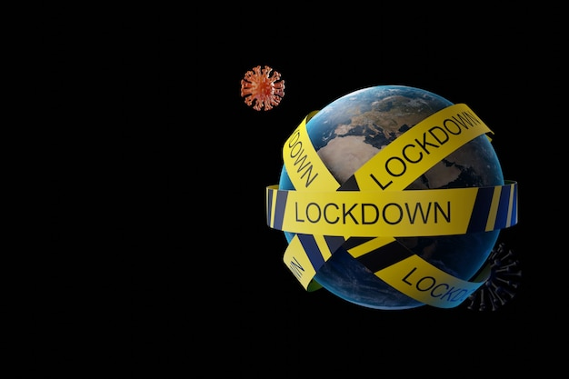 Blocco economico globale con nastro di quarantena e virus