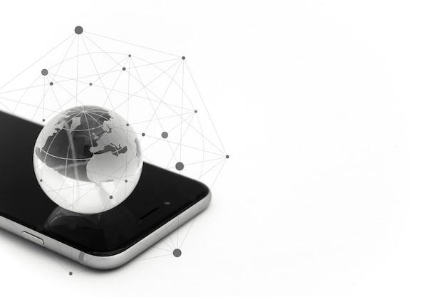 Concetto di business globale e internazionale. mondo connesso. concetto di rete sociale.