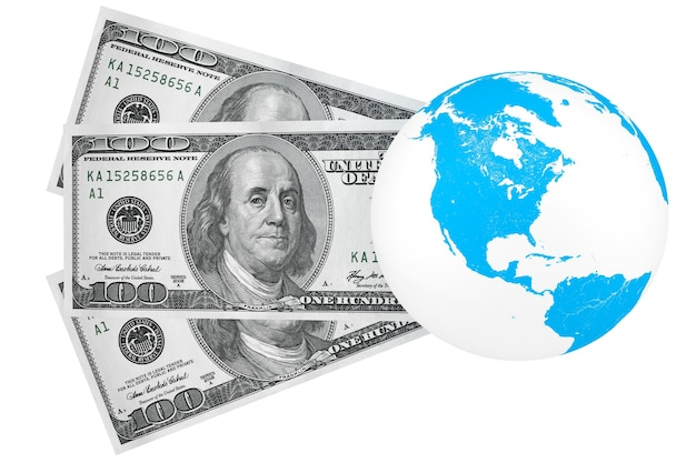 Concetto di investimento globale. cento dollari e globo su sfondo bianco