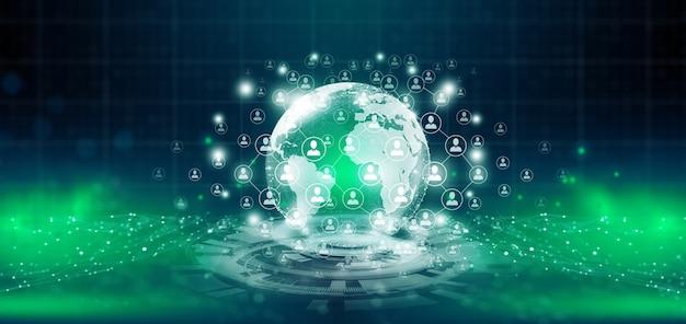 Comunicazione di rete globale con la comunità di rete di persone in tutto il mondo su sfondo tecnologico astratto. globale connesso del concetto di tecnologia dei dati del mondo digitale. rappresentazione 3d.