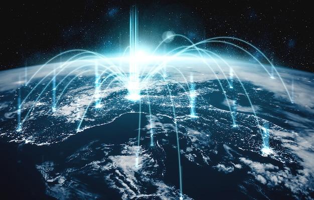 Connessione di rete globale che copre la terra con linee di percezione innovativa Foto Premium