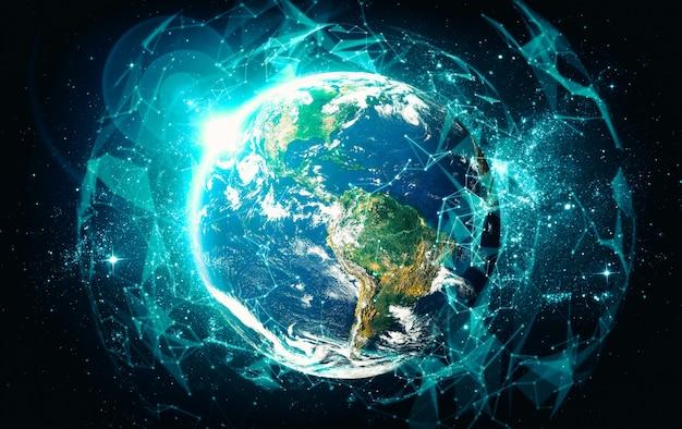 Connessione di rete globale che copre la terra con linee di percezione innovativa