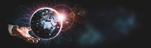 Connessione di rete globale che copre la terra con collegamento di percezione innovativa