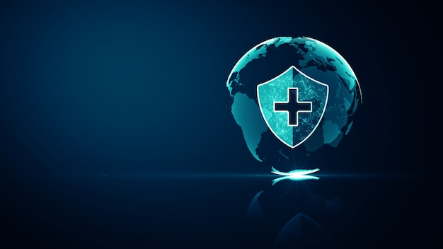 Concetto di protezione del sistema sanitario medico della rete globale. icona scudo futuristico di protezione della salute medica con wireframe brillante sopra multiplo su blu scuro.