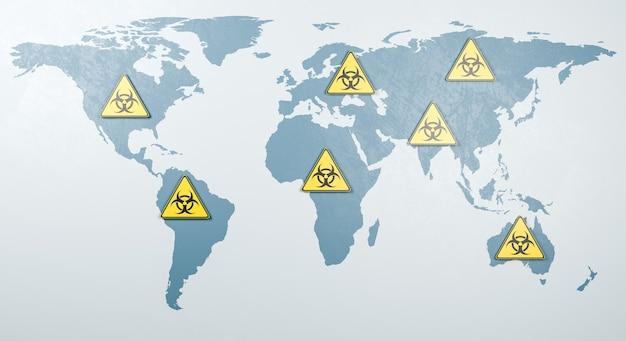 Illustrazione di rendering del concetto di diffusione pandemica globale