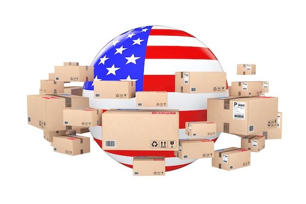 Spedizione globale e concetto logistico. sfera con bandiera usa circondata da scatole di cartone con merci in pacchi su sfondo bianco. rendering 3d.