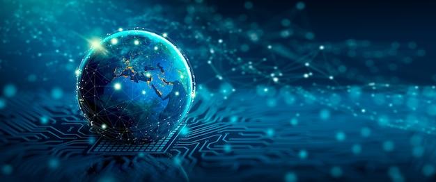 Global social network e business connection concept mondo digitale sul punto di convergenza