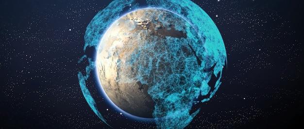 Rete mondiale globale e telecomunicazioni su criptovaluta terrestre e blockchain e iot. elementi di questa immagine fornita dalla nasa