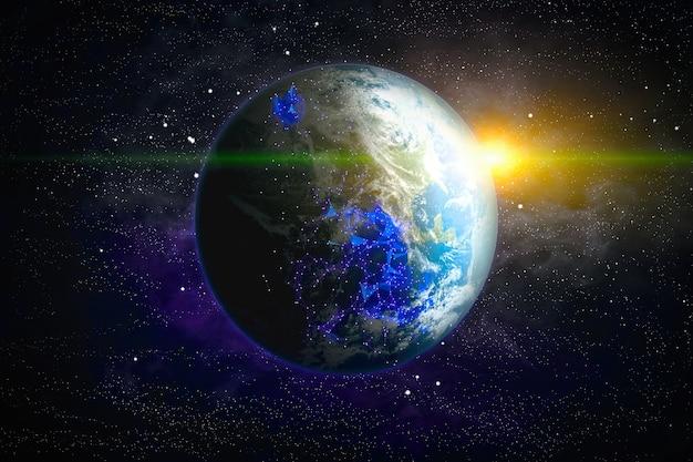 Rete mondiale globale e telecomunicazioni sulla terra, tecnologia per il business di internet. elementi di questa immagine fornita dalla nasa