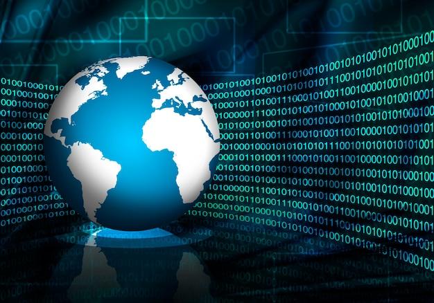 Globo sullo sfondo dei dati digitali