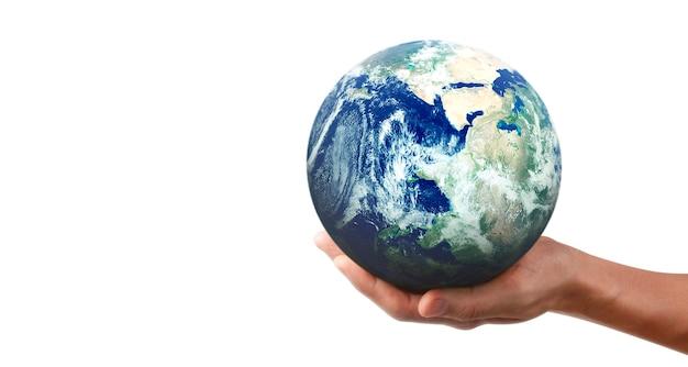 Globo, terra in mano umana, tenendo il nostro pianeta incandescente. immagine della terra fornita dalla nasa