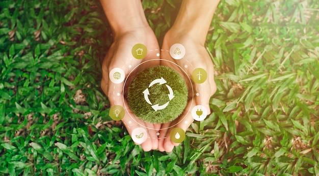 Globo in mano insieme alla conservazione dell'ambiente globale. elementi di protezione ambientale di questa immagine decorazione icone ambientali