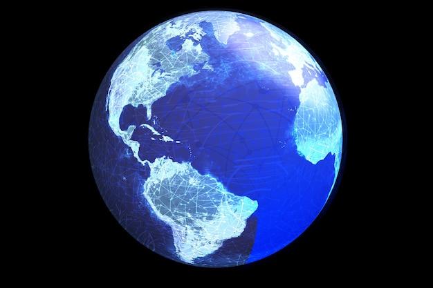 Un globo che mostra i nodi e le comunicazioni elettroniche globali.
