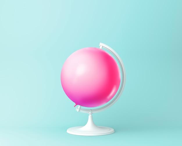 Concetto di rosa del pallone del globo della sfera del globo su fondo blu pastello. concetto di idea minima.
