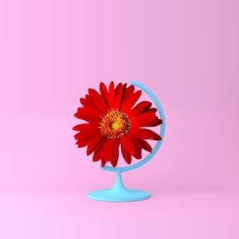Concetto rosso del fiore del globo della sfera del globo sul fondo di rosa pastello. fiori minimi o primaverili c
