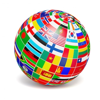 Sfera del globo con le bandiere del mondo su bianco