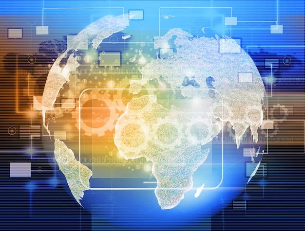 Globo con puntatori, segnali e icone di social network, rete di social media