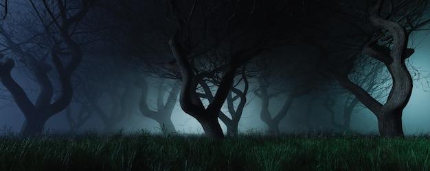 Sfondo cupo di una foresta con nebbia